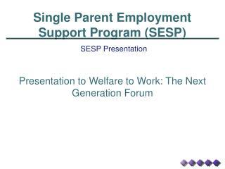 Single Parent Employment Support Program (SESP)
