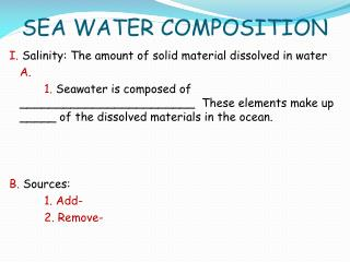 SEA WATER COMPOSITION