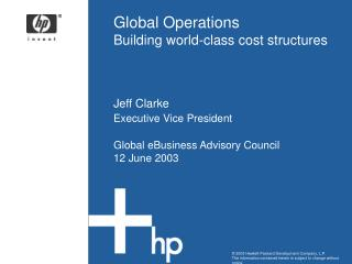 Global Operations Building world-class cost structures