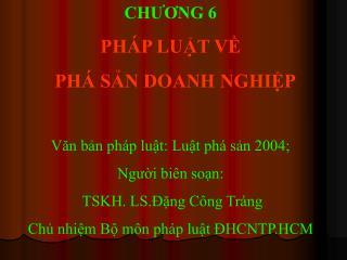 CH??NG 6 PH�P LU?T V?   PH� S?N DOANH NGHI?P V?n b?n ph�p lu?t: Lu?t ph� s?n 2004;