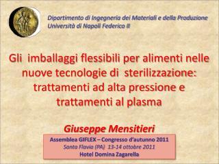 Dipartimento di Ingegneria dei Materiali e della Produzione  Universit� di Napoli Federico II