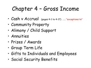 Chapter 4 – Gross Income