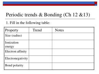 Periodic trends & Bonding (Ch 12 &13)