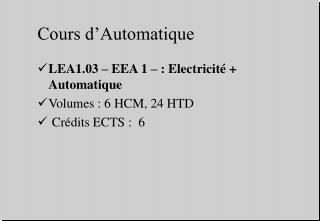 Cours d'Automatique
