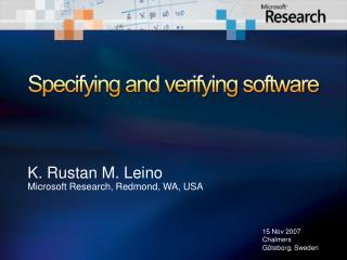 Specifying and verifying software