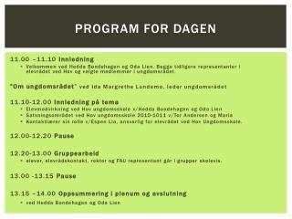 Program for dagen
