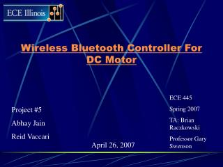Wireless Bluetooth Controller For DC Motor