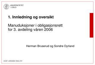 1. Innledning og oversikt Manuduksjoner i obligasjonsrett for 3. avdeling våren 2006