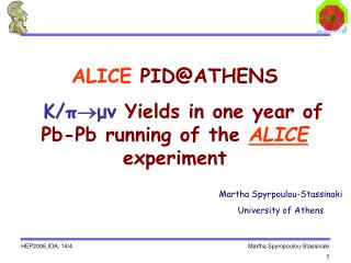 ALICE  PID@ATHENS K/ π  μν  Yields in one year of Pb-Pb running of the  ALICE experiment