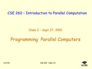 CSE 260 – Introduction to Parallel Computation