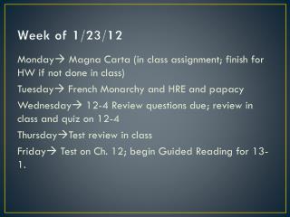 Week of 1/23/12