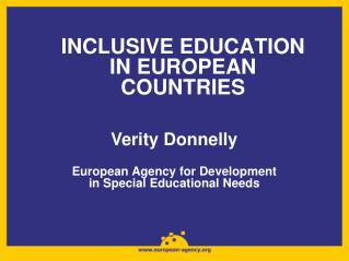 INCLUSIVE EDUCATION IN EUROPEAN COUNTRIES