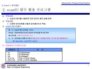 2.  scanf ()  함수 활용 프로그램