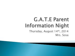 G.A.T.E Parent Information Night