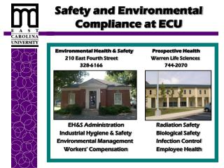 Safety and Environmental Compliance at ECU