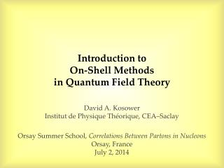 Introduction to On-Shell  Methods  in  Quantum Field  Theory