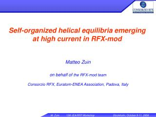 Self-organized helical equilibria emerging at high current in RFX-mod