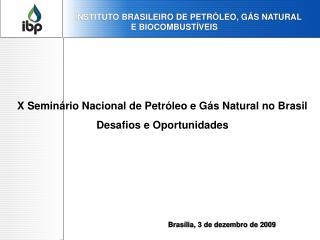 X Seminário Nacional de Petróleo e Gás Natural no Brasil Desafios e Oportunidades