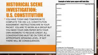 Historical scene investigation:  u.s. constitution