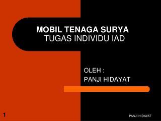 MOBIL TENAGA SURYA TUGAS INDIVIDU IAD