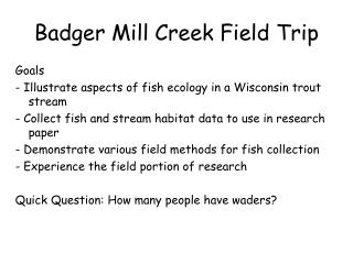 Badger Mill Creek Field Trip