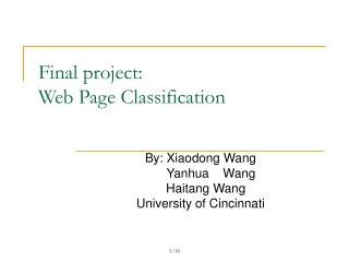 Final project: Web Page Classification