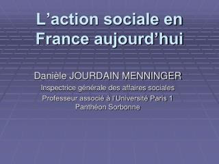 L'action sociale en France aujourd'hui