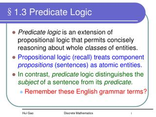 §1.3 Predicate Logic