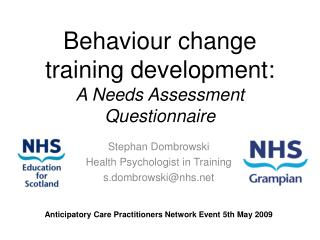 Behaviour change training development: A Needs Assessment Questionnaire