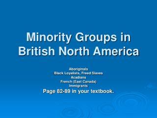 Minority Groups in British North America