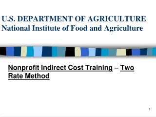 U.S. DEPARTMENT OF AGRICULTURE National Institute of Food and Agriculture