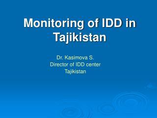 Monitoring of IDD in Tajikistan