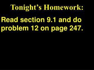 Tonight's Homework: