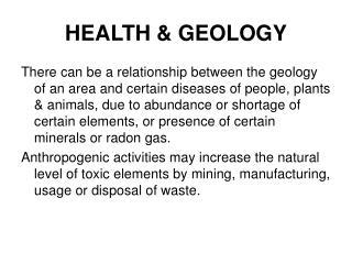 HEALTH & GEOLOGY