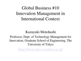 Global Business #10 Innovation Management in International Context