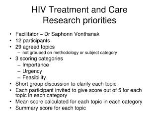 HIV Treatment and Care  Research priorities