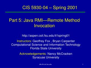 CIS 5930-04 – Spring 2001