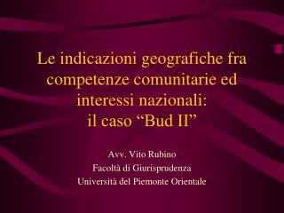 """Le indicazioni geografiche fra competenze comunitarie ed interessi nazionali:  il caso """"Bud II"""""""