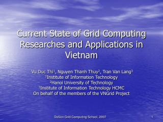 Current State of Grid Computing Researches and Applications in Vietnam