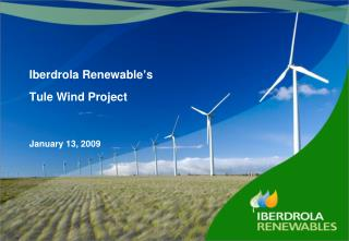 Iberdrola Renewable ' s  Tule Wind Project January 13, 2009