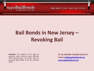 Bail Bonds in New Jersey – Revoking Bail