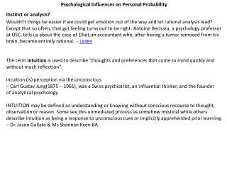 Psychological Influences on Personal Probability