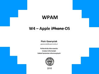 WPAM W4 – Apple iPhone OS