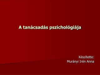 A tanácsadás pszichológiája