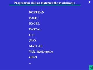 Programski alati  za matemati čko modeliranje