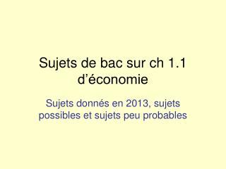 Sujets de bac sur ch 1.1 d'économie