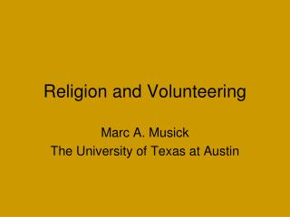 Religion and Volunteering