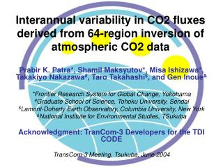 Interannual variability in CO2 fluxes derived from 64-region inversion of atmospheric CO2 data