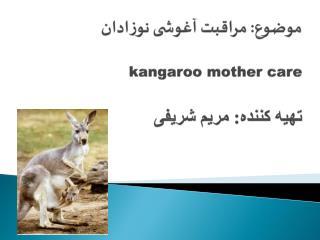 موضوع: مراقبت آغوشی نوزادان  kangaroo mother care تهیه کننده: مریم شریفی