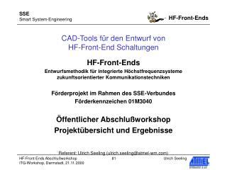 CAD-Tools für den Entwurf von  HF-Front-End Schaltungen